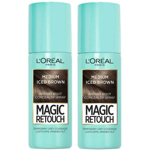 L'Oréal Paris Magic Retouch Medium Iced Brown Root Concealer Spray Duo Pack