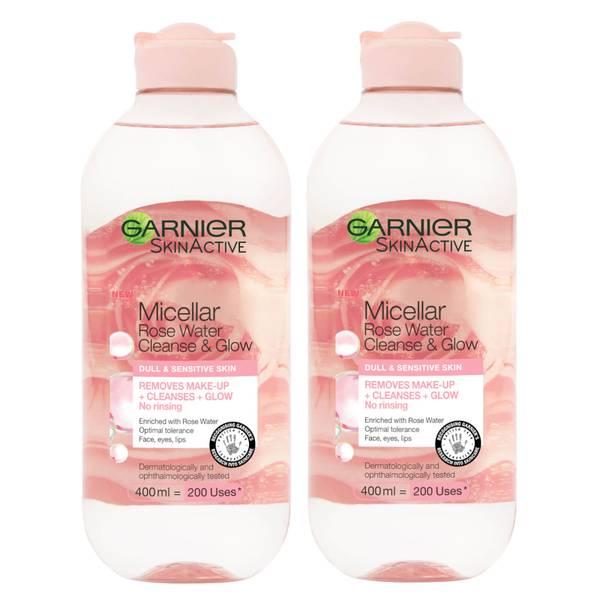 Garnier Micellar Rose Water Cleanse & Glow 400ml Duo Pack