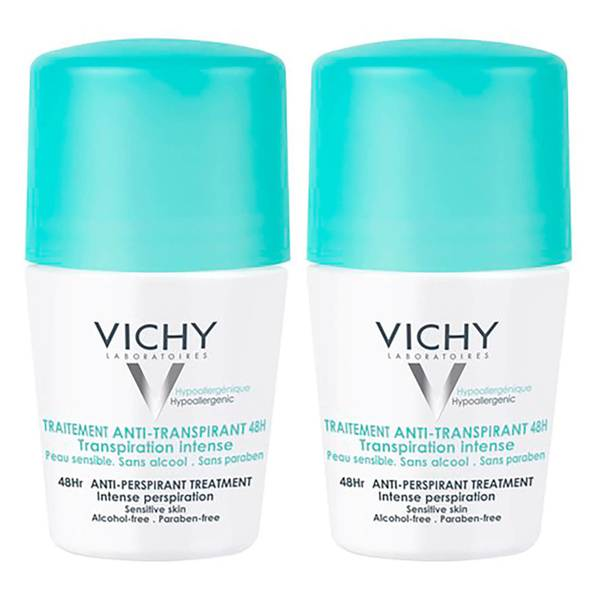 Vichy 48 Hour Intensive Antiperspirant Roll-on Deodorant for Sensitive Skin Bundle 2 x 50ml