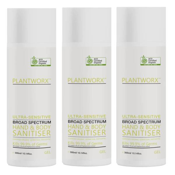Plantworx Hand and Body Ultra-Sensitive Sanitiser Trio 3 x 300ml