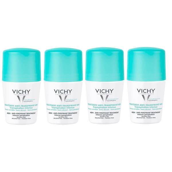 VICHY 48 Hour Intensive Anti-Perspirant Roll-on Deodorant Set for Sensitive Skin 4 x 50ml
