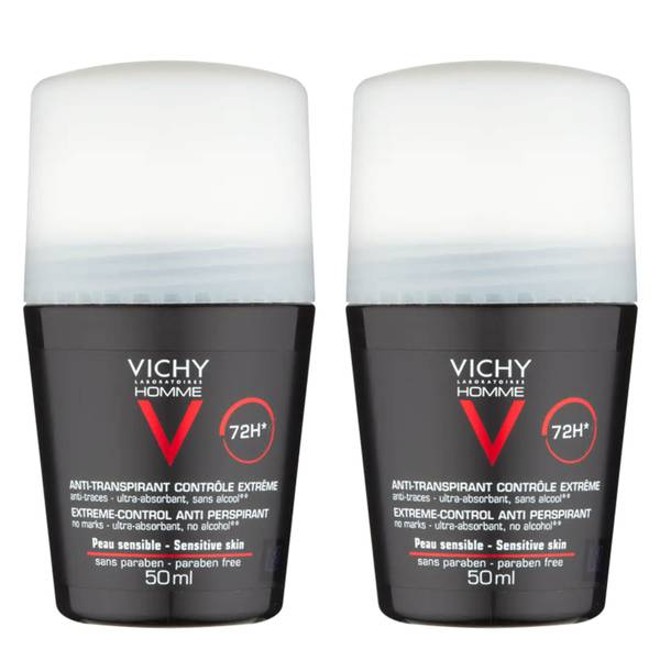 VICHY Homme Men's Extreme-Control Anti-Perspirant Roll-on Deodorant Duo for Sensitive Skin 50ml