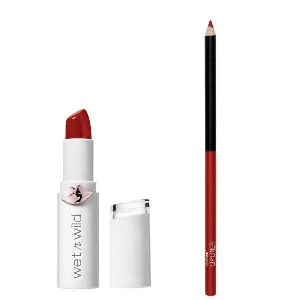 wet n wild Mega Last High Shine Lipstick and Color Icon Lip Liner Duo (Various Shades)