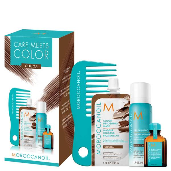 Moroccanoil Care Meets Colour Brunette Bundle with Free Comb - Cocoa (Worth £22.55)