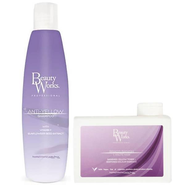 Beauty Works Anti Yellow Shampoo and Brass Banish Mask Duo