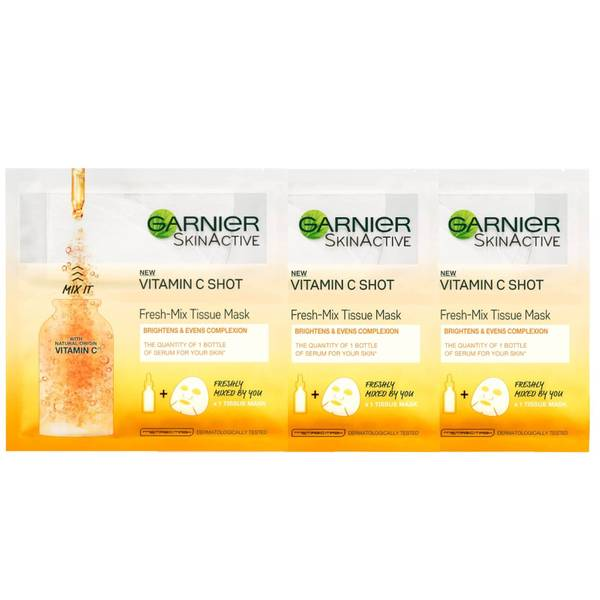 Garnier Fresh-Mix Brightening Face Sheet Mask with Vitamin C X 3