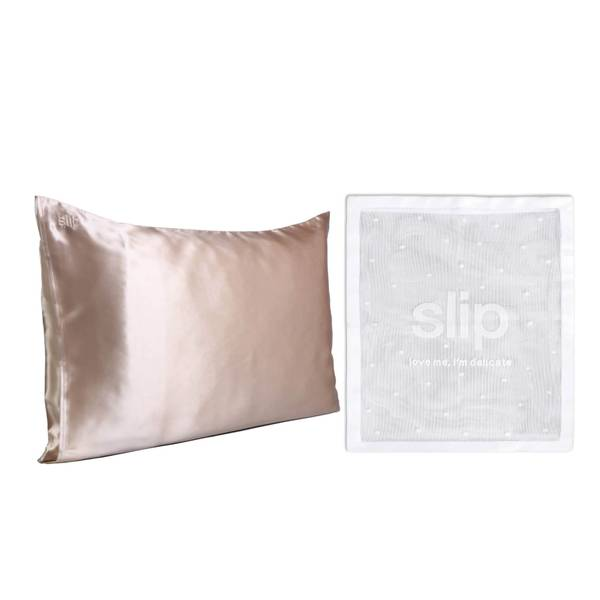 Slip Exclusive Silk Caramel Pillowcase Duo and Delicates Bag