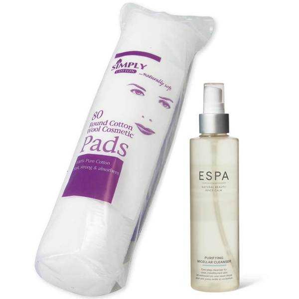 ESPA Purifying Micellar Cleanser 200ml and Cotton Wool Pads Bundle