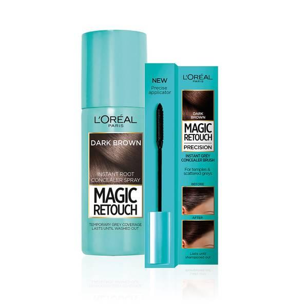 L'Oréal Paris Magic Retouch dark brown 75ml & Precision Instant Grey Concealer Brush Set
