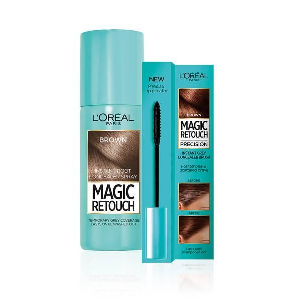 L'Oréal Paris Magic Retouch brown 75ml & Precision Instant Grey Concealer Brush Set