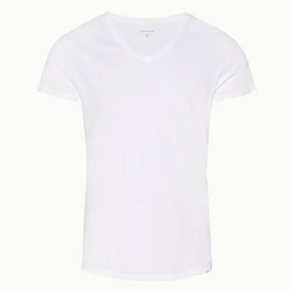 Ob-V 테일러드 핏 V넥 티셔츠 화이트