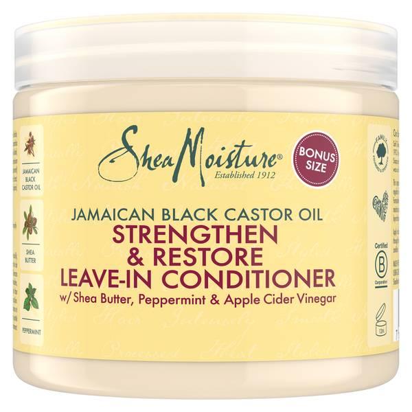 Condicionador sem Enxaguar Strengthen & Restore com Óleo de Ricino da Jamaica da Shea Moisture 454g