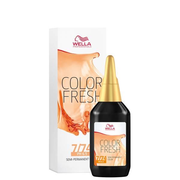 Wella Professionals Color Fresh 7/74 Medium Brown Gold Blonde 75ml