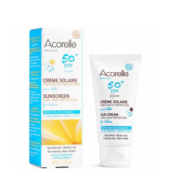 Crème solaire bio SPF50+ pour bébé Acorelle – 3mois et plus 50ml