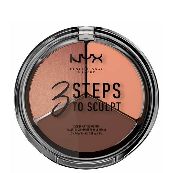 Paleta para Esculpir o Rosto 3 Steps to Sculpt da NYX Professional Makeup - Deep