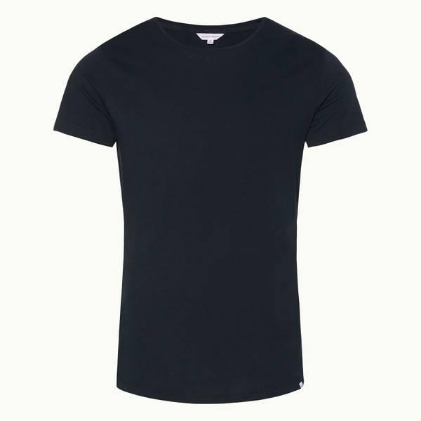 Ob-T 테일러드 핏 크루넥 티셔츠 네이비