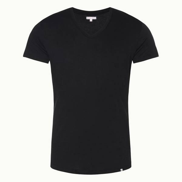 Ob-T 테일러드 핏 크루넥 티셔츠 블랙