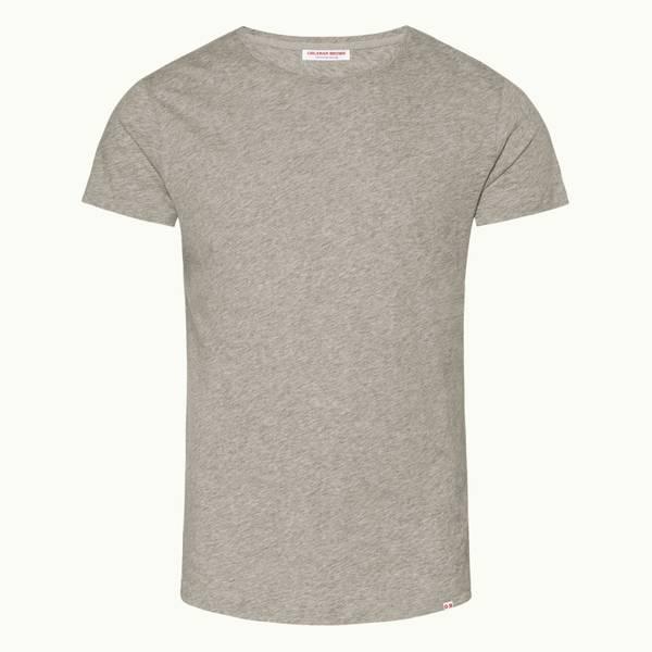 Ob-T 테일러드 핏 크루넥 티셔츠 미드 그레이 멜란지