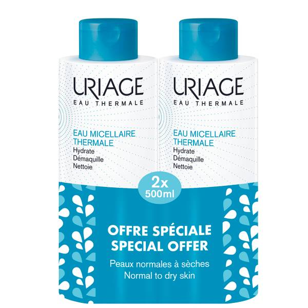 Uriage Thermal Micellar Water for Normal to Dry Skin 2 x 500ml (Special Offer)