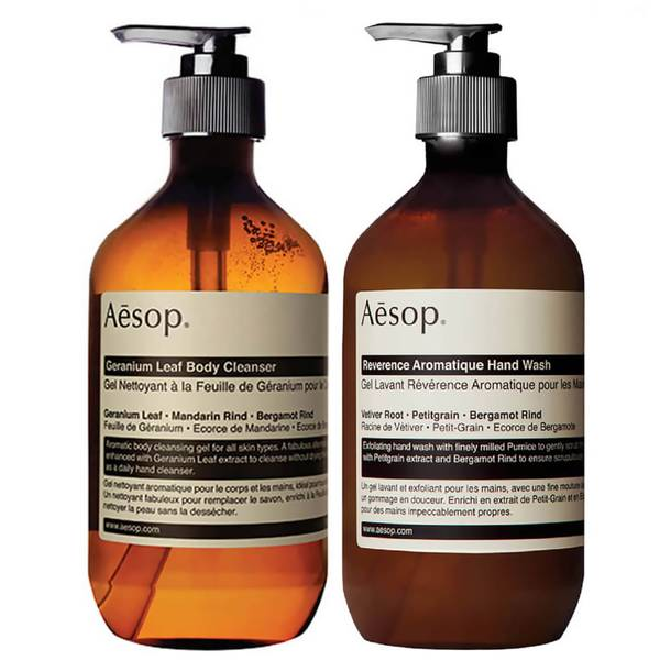 Aesop Geranium Cleanser and Reverence Hand Wash Duo (Worth £60.00)