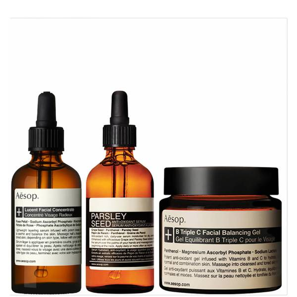 Aesop Lucent Concentrate, Triple C Balancing Gel and Parsley Seed Serum Bundle