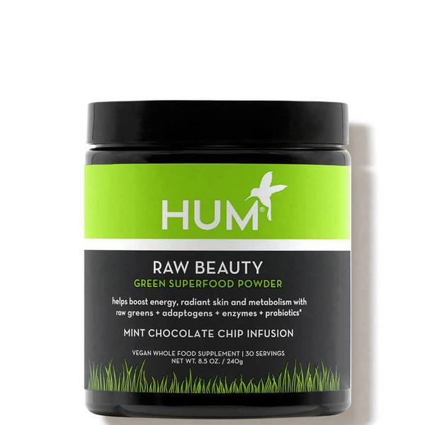HUM Nutrition Raw Beauty to Go Green Superfood Powder Mint Chocolate Chip Infusion 8.5 oz