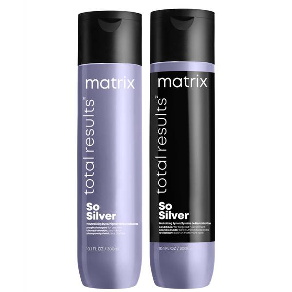 Matrix  Total Results So Silver Purple Toning Shampoo and Conditioner for Blonde, Silver & Grey Hair 300ml Duo