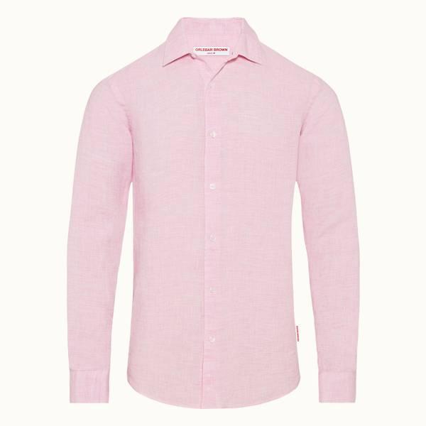 Giles Linen 클래식 카라 테일러드 핏 린넨 셔츠 페일 핑크/화이트