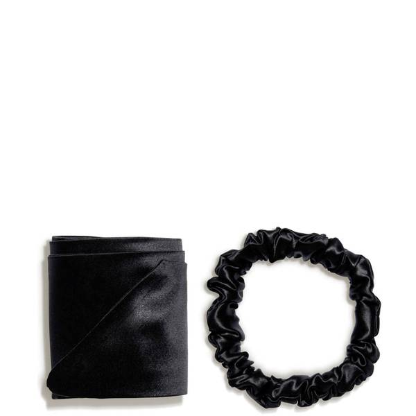 Slip silk ribbon and silk scrunchie - Black (2 piece)