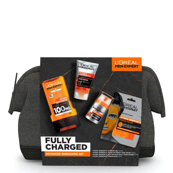 L'Oreal Paris Men Expert Fully Charged Washbag 4 Piece Gift Set for Him