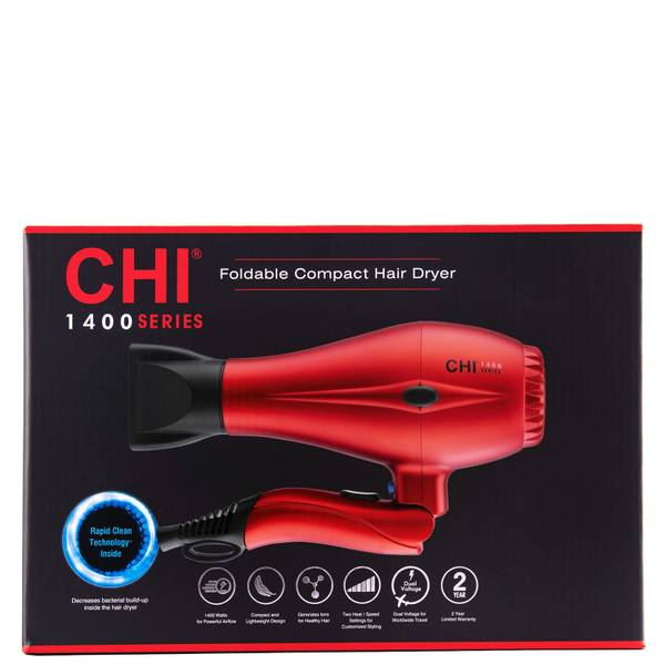 CHI 1400 Series Foldable Compact Hair Dryer - Red