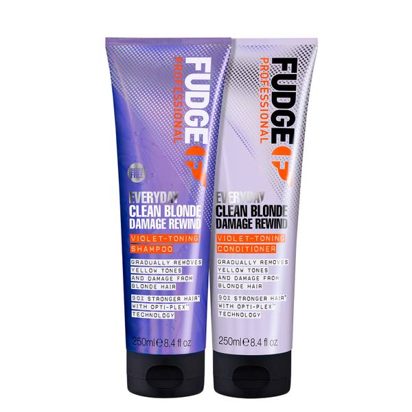 Fudge Professional Clean Blonde Everyday Violet Damage Rewind Purple Shampoo and Conditioner Duo