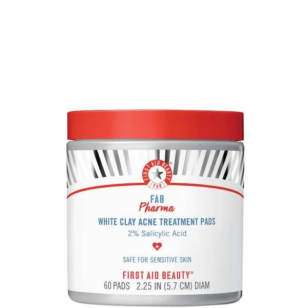 First Aid Beauty FAB Pharma White Clay Acne Treatment Pads 2 Salicylic Acid (60 count)