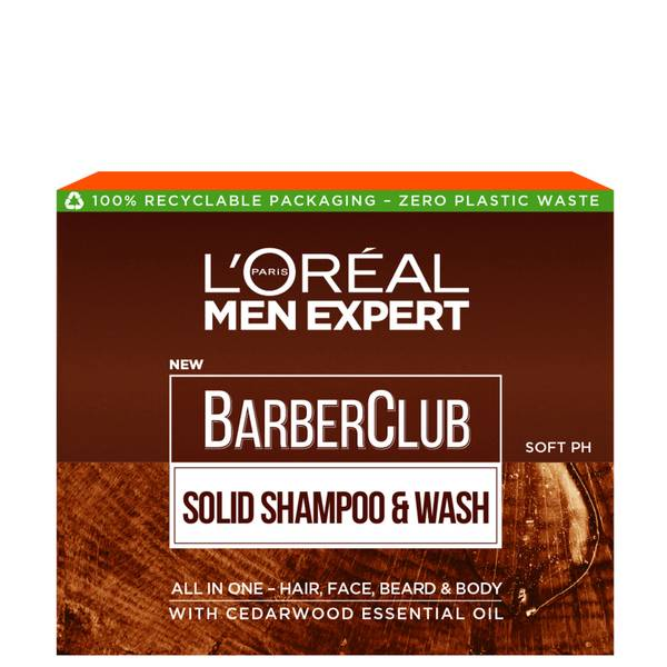 L'Oréal Paris Men Expert Barber Club Solid Shampoo and Wash Bar for Hair, Face, Beard and Body 80ml