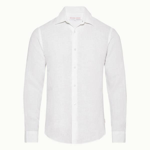 Giles Linen 테일러드 핏 셔츠 화이트