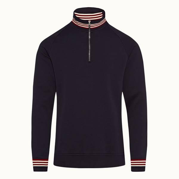 Isar 클래식 핏 하프지퍼 립 스트라이프 스웨츠셔츠 네이비