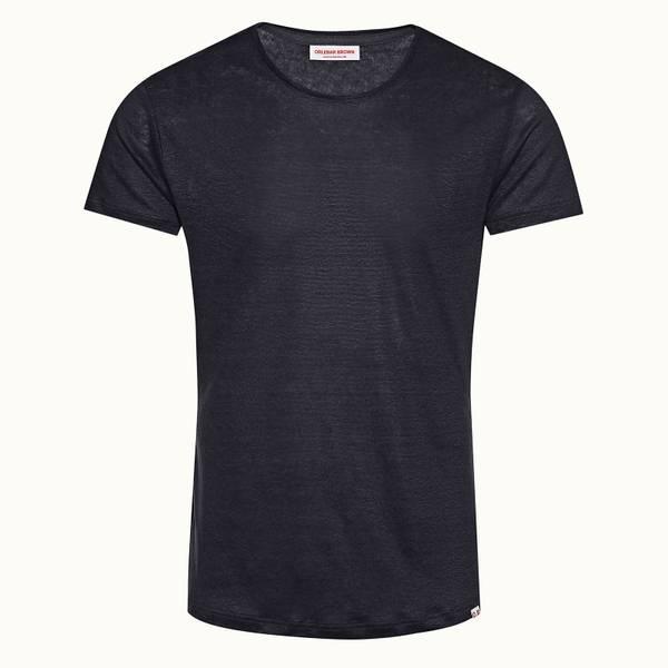 Ob-T Linen 테일러드 핏 크루넥 린넨 티셔츠 블루워시