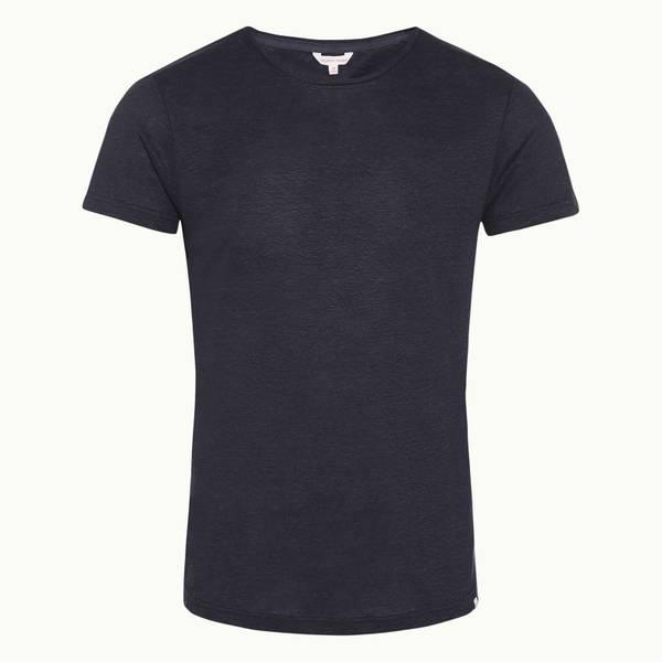 Ob-T Linen 네이비 테일러드 핏 린넨 크루넥 티셔츠