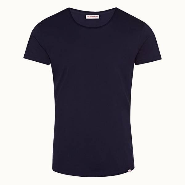 Ob-T 테일러드 핏 크루넥 코튼 티셔츠 네이비