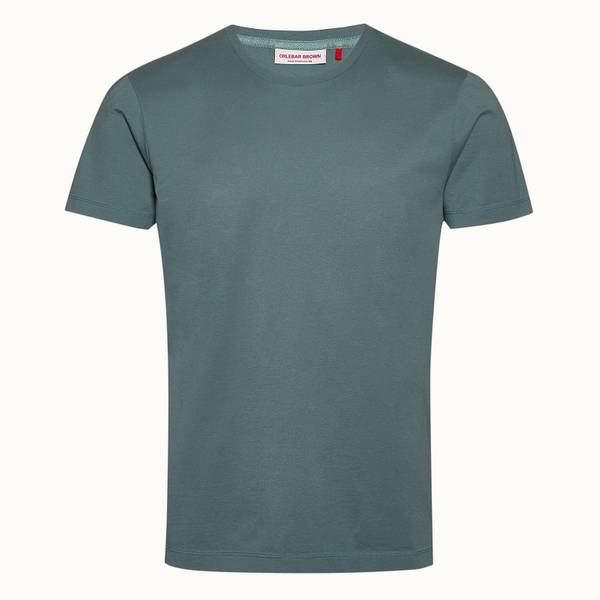 Ob-T 테일러드 핏 크루넥 코튼 티셔츠 세이지