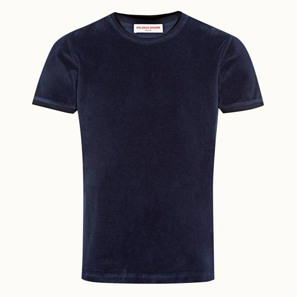 Sammy Towelling Towelling 티핑 클래식 핏 티셔츠 네이비