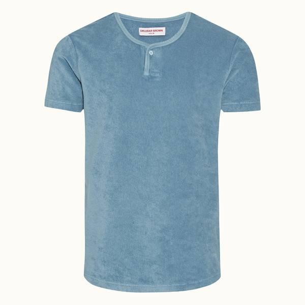 Seeger 클래식 핏 가먼트 염색 Towelling 티셔츠 카프리 블루