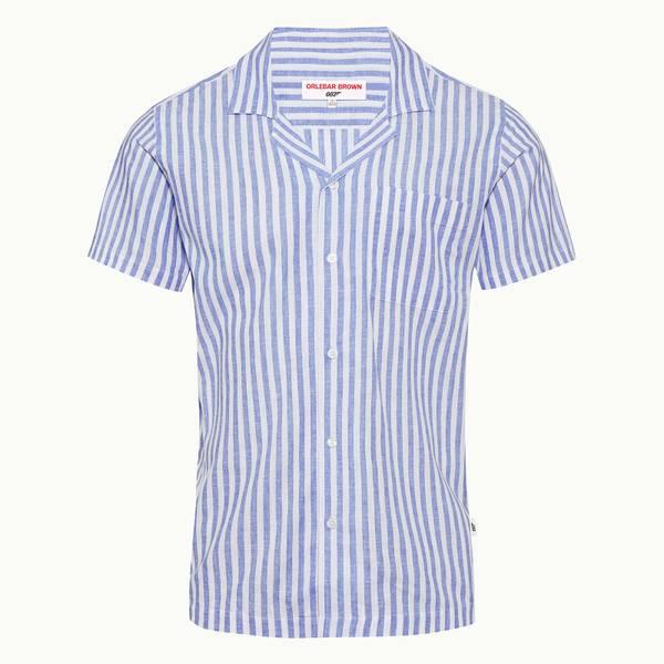 Thunderball Stripe Shirt 007 카프리 카라 셔츠 리비에라/화이트