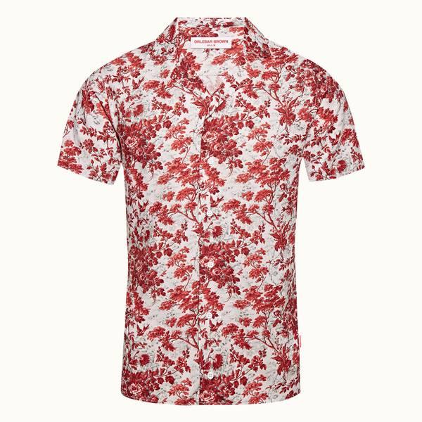 Travis 플로랄 프린트 리조트 셔츠 로즈/빈티지 로즈