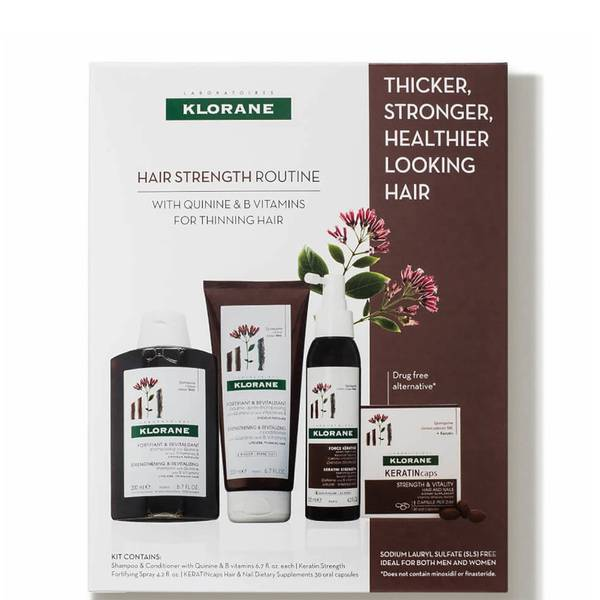 KLORANE Hair Strength Routine with Quinine B Vitamins for Thinning Hair (4 piece)