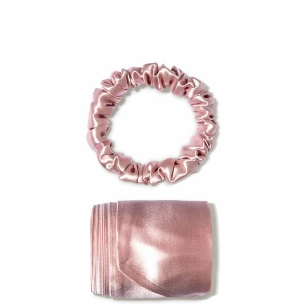 Slip silk ribbon and silk scrunchie - Pink (2 piece)