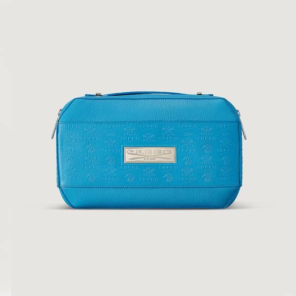 Blue Leather Wash Bag