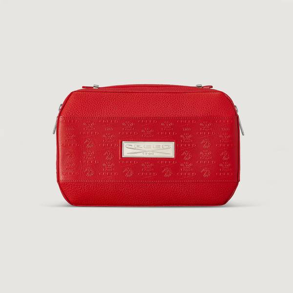 Red Leather Wash Bag