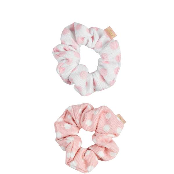 The Vintage Cosmetic Company Shower Microfibre Hair Scrunchies - Pink Polka Dot (2 Pack)