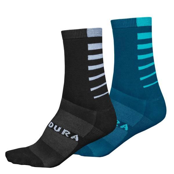 Coolmax® Stripe Socks (Twin Pack) - Kingfisher